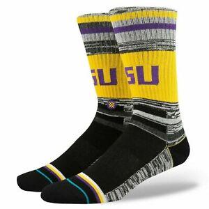 Stance Men Yellow Crew Striped NCAA LSU Louisiana State Varsity Socks L 9-12 NEW