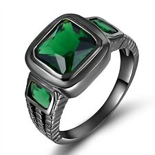 Jewelry Size 11 Emerald Cut Emerald Black Gold Filled Engagement Rings For Men