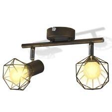Lampada da Soffitto Faretto Stile Bar nero con 2 lampadine a LED