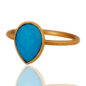 Turquoise Silver Stacking Designer Ring 14k Yellow Gold Plated Jewelry