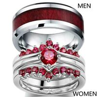 Couple Rings Red CZ Mens Ring Stainless Steel Band Women/'s Wedding Ring Sets