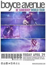 "BOYCE AVENUE ""BE SOMEBODY WORLD TOUR"" 2016 PHOENIX CONCERT POSTER-Pop Rock Music"