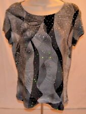 Vtg Brittany Black Blouse Black White Geometric Design Sequins Made in Usa