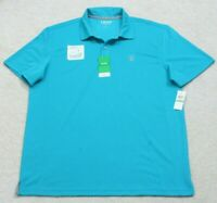 New Polo Shirt Blue Large Solid Short Sleeve 2-Button Man Top Izod Golf $55 MSRP