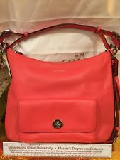 New Coach Leather Shoulder Bag in Mango with Dust Cover