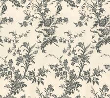 Wallpaper Designer Waverly Black Floral Toile Vine on Cream