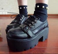 Women Leather Punk Buckle Strap Lace up Platform Block Heels Shoes Lolita Pumps