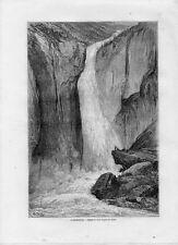Stampa antica RJUKANFOSSEN Tinn Telemark Norway 1862 Antique antikk print