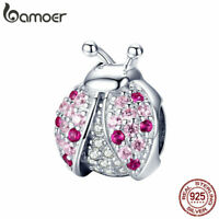 BAMOER Genuine S925 Sterling silver Women Charms The Ladybug & CZ Fit Bracelets