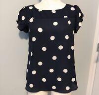 Ann Taylor Loft Womens Sz XS Short Sleeve Blouse Navy w White Polka Dots Relaxed