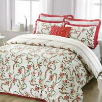 Rose Floral Ruffle Frill Quilt Duvet Cover Set Single Double Super King Bedding