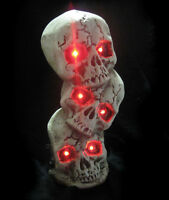 """Lifesize Lighted Stack of Human Skull Skulls Halloween Party Prop Decoration 12/"""""""