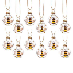 Mini Bee Baubles Set of 12 Festive Christmas Hanging Xmas Tree Ornaments
