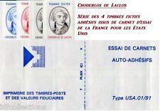 Vignette expérimentale Choderlos de Laclos série de 4 timbres de carnet adhésif