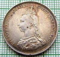 GREAT BRITAIN QUEEN VICTORIA 1887 JUBILEE SHILLING, SILVER HIGH GRADE LUSTRE