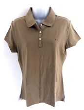 TOMMY HILFIGER Womens Polo Shirt XL Brown Cotton Slim Fit