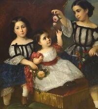 BELLE GRANDI DIMENSIONI 19th secolo americano SORELLE Bambini RITRATTO ANTICO DIPINTO AD OLIO