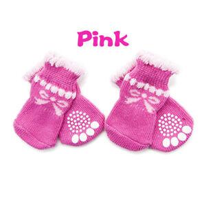 4pcs/Set Dog Cat Anti-Slip Knit Socks Winter Warm Windrproof Slippers Shoes gift