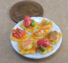 1:12 Scale Small Sea Food H'orderves On A 2.5cm Ceramic Plate Dolls House Food