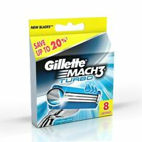 Gillette Mach3 Turbo Razor 8 Cartridges Shaving Blades