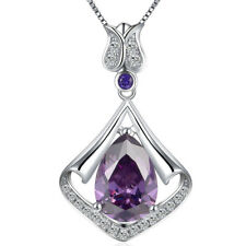 3.05 Ct Mermaid drop Amethyst Birthstone Sterling Silver Pendant Necklace