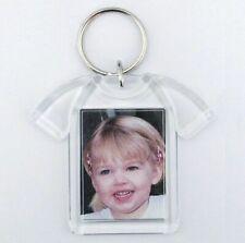 15x Blank T-shirt Shape Acrylic Keyrings 41x30mm Photo Key Ring Plastic D1217