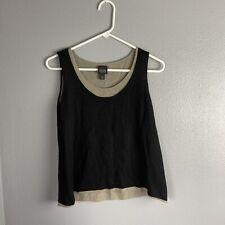 Eileen Fisher PS Top Tank Black Beige Sleeveless Wool Blend Casual Soft