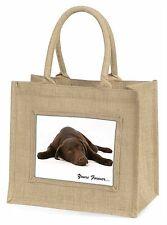 Chocolate Labrador Dog Love Large Natural Jute Shopping Bag Christmas, AD-L59BLN