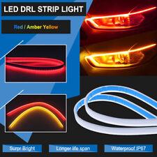 Amber Red DRL Flexible LED Tube Strip Red Daytime Running Lights Yellow Turn Bar
