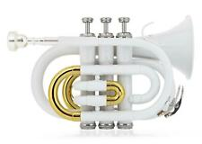 Brass Pocket Trumpet Bb Tuning 3 Valves Mouthpiece Cleaning Cloth Case white New