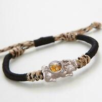 Unisex Feng Shui Black Obsidian Beads Pi Xiu Wealth Bracelet Luck Jewellery W6G5