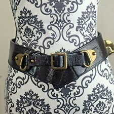 Betsy Johnson Wide Dark Brown Patent Faux Leather Belt Size  L Brass Buckle