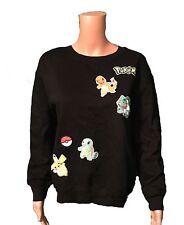 NEW 150 Pokemon Women's Juniors S Black Pullover Sweatshirt Pikachu Cotton Blend