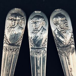 3 Vintage WM Rogers MFG. Co. I.S. Silverplate Presidential Spoons.