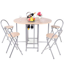 5PC Foldable Dining Set Table and 4 Chairs Breakfast Kitchen Furniture New