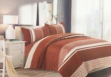 Ethnic Stripes Print Luxury Duvet Cover Bedding Set with Pillowcases Brown/Cream