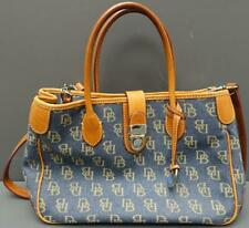 Dooney & Bourke Signature Denim Canvas Brown Leather Satchel Shoulder Handbag