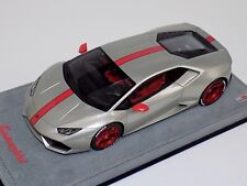 1/18 MR Collection Lamborghini Huracan Coupe Silver with Shinny Red Wheels