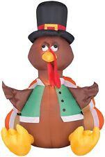 Airblown Outdoor Happy Turkey 4' Inflatable Thanksgiving Yard Decoration Gemmy