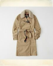 Abercrombie & Fitch Trench Coat Faux Shearling Trim Plaid Lining Jacket SIZE S