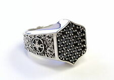 Men's Silver  Ring With Black Diamonds by Sacred Angels