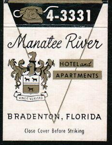 BRADENTON FL Manatee River Hotel Apt Restaurant Match Book Cover Vtg Advertising