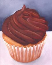 Chocolate Cupcake Still Life 8x10 Signed Art PRINT of Original Oil Painting VERN