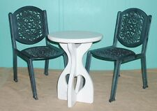 Indoor Outdoor chairs metal designer table wooden white finish dolls bears