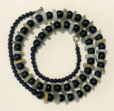 Designer Teng Yue Abstract Jade & Black Onyx Polished Bead Necklace Sku120841ts