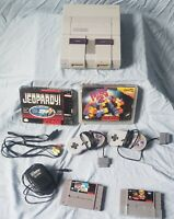 Super Nintendo SNES Console Bundle  TESTED, WORKING 4 game lot super
