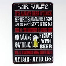 Metal Tin Sign funny bar rules  Decor Bar Pub Home Vintage Retro sign