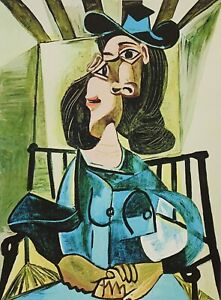 """PABLO PICASSO """"Woman With Hat Seated In Armchair"""" Limited Edition Colour Giclee"""