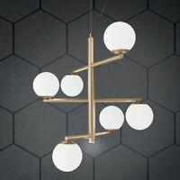 Lampadario a sospensione moderno 6 luci metallo oro con sfere vetro soffiato