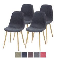 Esszimmerstühle BELFAST 4er Set Schwarz Retro Vintage Leder Küchen-Stuhl Design